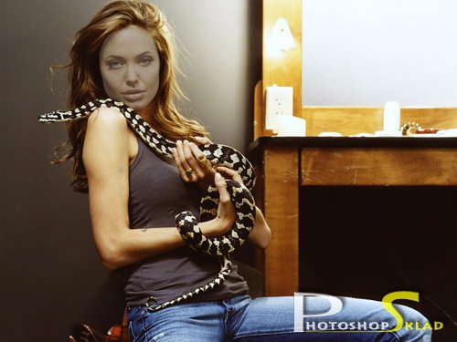 Template for a photoshop - the girl with a snake